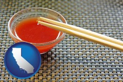 california map icon and chopsticks and red hot sauce in a Chinese restaurant