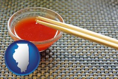 illinois chopsticks and red hot sauce in a Chinese restaurant