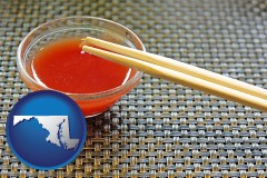 maryland chopsticks and red hot sauce in a Chinese restaurant