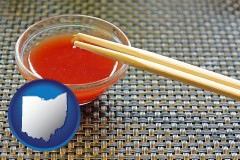 ohio map icon and chopsticks and red hot sauce in a Chinese restaurant