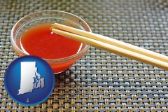 rhode-island map icon and chopsticks and red hot sauce in a Chinese restaurant