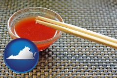 virginia map icon and chopsticks and red hot sauce in a Chinese restaurant