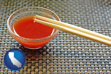 chopsticks and red hot sauce in a Chinese restaurant - with California icon