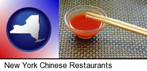 New York, New York - chopsticks and red hot sauce in a Chinese restaurant